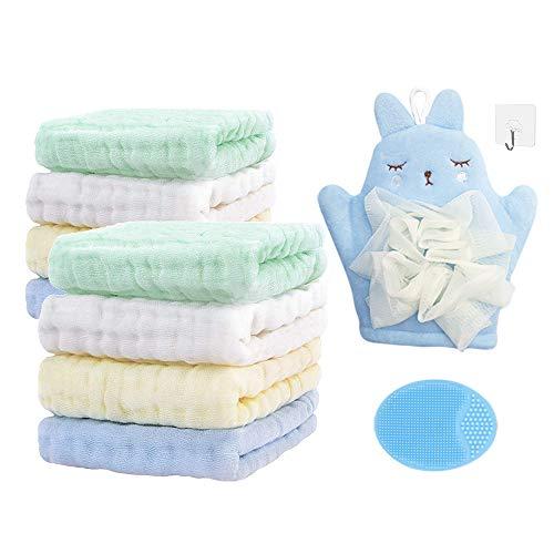 Set da Mussole Neonato, 8 Asciugamani Morbidi Neonato, 1 Guanto da Bagno, 1 Spazzola Bambino Del Silicone Shampoo, per Bambini dai 0 mesi in su