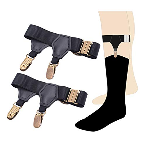 SupSuspen Men Adjustable Black Sock Garter Belt Grips Suspender&Hard Metal Clips