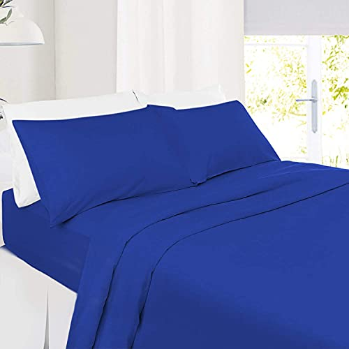 5 PC Split Cal-King| Royal Blue Bed Sheet Set 100% Organic Cotton Split Sheet Set for Adjustable Bed Long Staple Soft Cotton Yarns Premium 600 Thread Counts Split Sheet with Extra 16' Deep Mattress