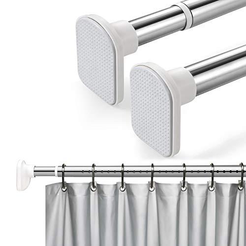 KINLO Duschvorhangstange 304 Edelstahl verstellbare Teleskopstange für Duschvorhang Kleider Gardine Küchenutensilien starker ohne Bohren (110-160cm)