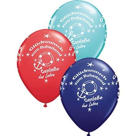 Qualatex ballonnen, felicitatie voor pensioen en blauw/rood/turquoise, ca. 30 cm, 5 stuks