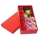 Wisolt 12 jabones perfumados de rosas de papel de oro de 24 quilates, con caja de regalo, regalos...
