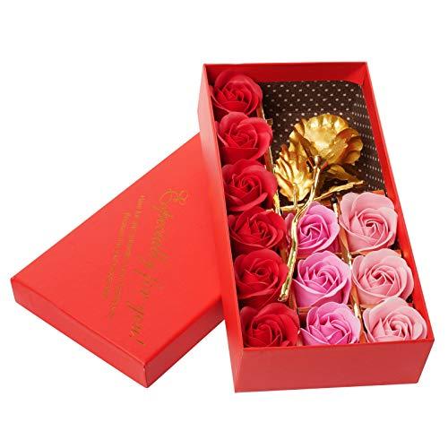 Wisolt 12 jabones perfumados de rosas de papel de oro de 24 quilates, con caja de regalo, regalos románticos para San Valentín, Día de la Madre, boda, cumpleaños