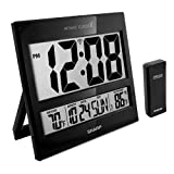Sharp Atomic Clock - Atomic Accuracy - Never Needs Setting! -New Gloss Black Style - Jumbo 3' Easy to Read Numbers - Indoor/ Outdoor Temperature Display with Wireless Outdoor Sensor - Easy Set-Up!