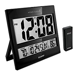 Sharp Atomic Clock - Atomic Accuracy - Never Needs Setting! -New Gloss Black Style - Jumbo 3 Easy to Read Numbers - Indoor/ Outdoor Temperature Display with Wireless Outdoor Sensor - Easy Set-Up!