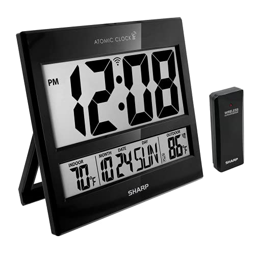 """Sharp Atomic Clock - Atomic Accuracy - Never Needs Setting! -New Gloss Black Style - Jumbo 3"""" Easy to Read Numbers - Indoor/ Outdoor Temperature Display with Wireless Outdoor Sensor - Easy Set-Up!"""