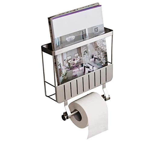 LLDKA Dispensador de Papel higiénico para Montaje en Pared con el Estante Revista Revista de Acero Inoxidable Estante de 10,7 x 3,5 x 10,5 Pulgadas