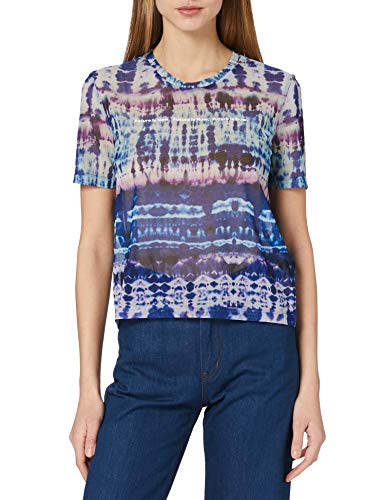 Desigual tee Elbow Tull Tie Dye Camiseta, Azul, M para Mujer