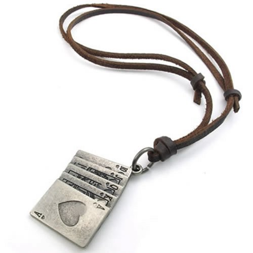 KONOV Mens Womens Playing Card Poker Pendant Adjustable Leather Necklace Chain, Brown Silver
