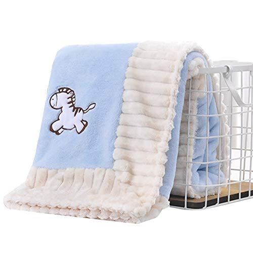 Manta polar para bebé recién nacido, ultra suave y mullida, manta de felpa cálida, envolvente, manta de invierno para asiento de coche, cochecito, cuna, cuna, etc. azul azul Talla:talla única