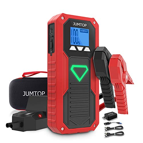 JUMTOP E18 Car Battery Jump Starter for up to 8.0L Gas 6.5L Diesel Engine,Battery Jump Booster Pack 2000A Peak 14400mAh Portable Power Bank Charger with Dual USB Smart Charging Port and LED Lighting