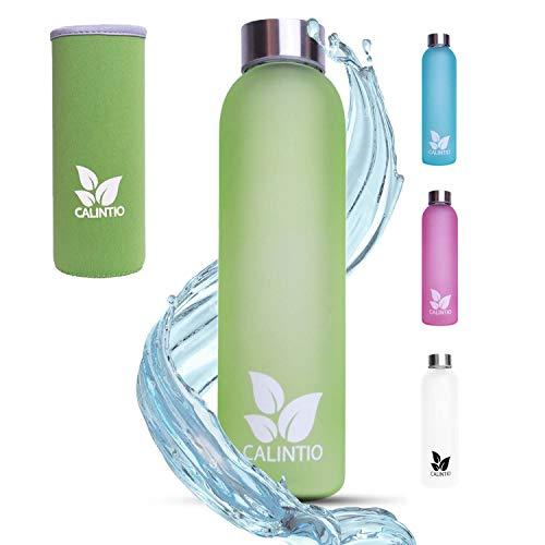 Calintio Designer Trinkflasche aus Glas - 550ml & 750ml - BPA frei, auslaufsicher und perfekt für unterwegs - hochwertige Glasflasche mit Neopren Schutzhülle … (550 ml, Grün)