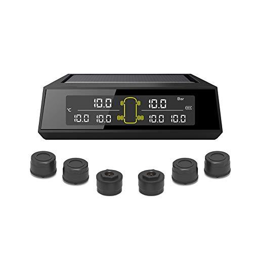 StoreBaoソーラーパワーカータイヤ空気圧監視システム(RVトレーラー用)- 6つの外部TPMSセンサー、6つのアラームモード、4-6タイヤに適しています