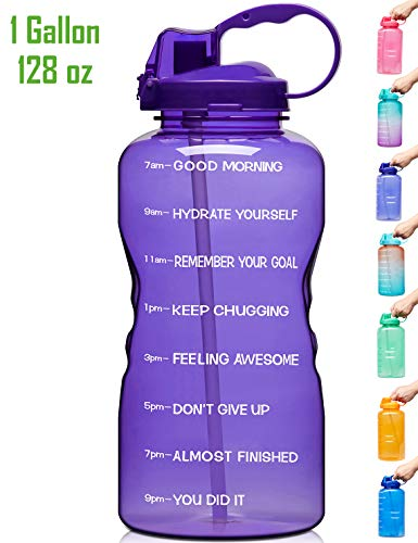 Venture Pal Large 1 Gallon/128 OZ (When Full) Motivational BPA Free Leakproof Water Bottle with Straw & Time Marker Perfect for Fitness Gym Camping Outdoor Sports-Purple
