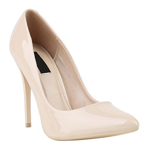 Elegante Damen High Heels Spitze Pumps Lack Metallic Stiletto Samt Glitzer Nieten Abend Business Schuhe 142130 Nude Lack 38 Flandell