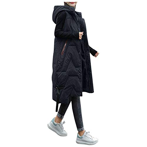 BOIYI Acolchado Chaqueta Encapuchada Sin Mangas para Mujeres Espesar Largo Color Puro Abrigo Abajo Chalecos(Negro,L)