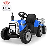 Ride on Tractor 12V 7Ah, Kids Electric Tractor with Remote Control, 2+1 Gear Shift, 7-LED Headlight, Horn Button/ MP3/ Bluetooth/ USB Port, Toy Tractor with Trailer for Kids 3-6 Years(Blue)
