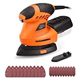 TACKLIFE Mouse Detail Sander with 20Pcs Sandpapers,360° Rotatable Sanding Pad, 12000 OPM ...
