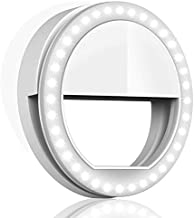 QIAYA Selfie Ring Light for Phone Camera Photography Video, BatteryPowered Clip White