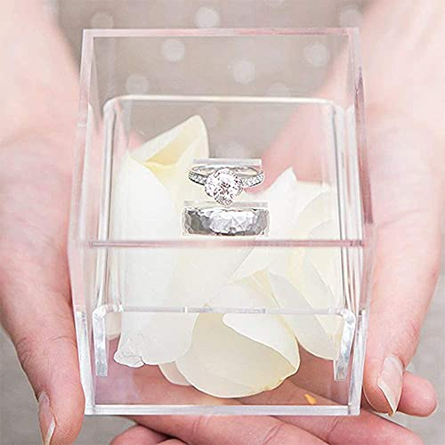 AiLa Acrylic Clear Ring Display Holder Crystal Jewelry Ring Stand Box For Gifts Wedding Without Flowers (Clear)