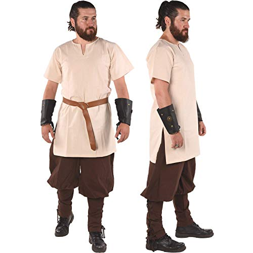 byCalvina Costumes Cora Medieval Viking Tunic for Men Made in Turkey,Nat-2XL