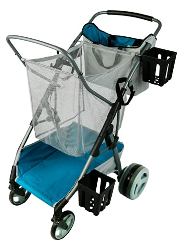 Strolee Beach and Field Utility Compact Folding Cart - All-Terrain Oversized Wheels for Sand and Outdoors - Extra-Large Storage Capacity - Rust Free Aluminum Frame (Beach/Field Cart, Pearl Blue)