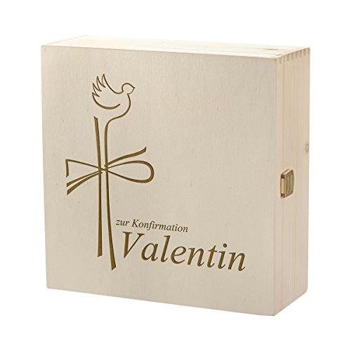 polar-effekt Erinnerungsbox mit Gravur - Große Holzkiste mit Deckel Natur 27x27cm – Geschenk zur Konfirmation oder Taufe – Personalisierte Holzbox – Motiv Christuskreuz für kirchliche Anlässe