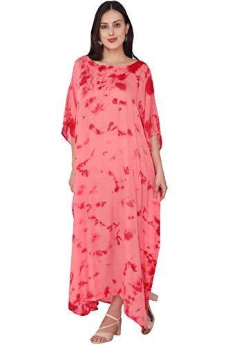 SKAVIJ Caftan Playa Mujer Talla Grande Vestidos Mujer Verano Largo Rojo Talla Única