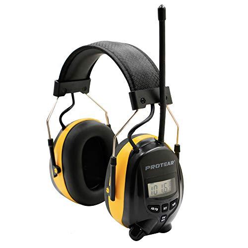 Gehörschutz mit Radio AM / FM, 3,5-mm-Telefon- / MP3-Stereobuchse, Gehörschutz zum Arbeiten / Mähen, zertifiziertes SNR 30 dB, gelb