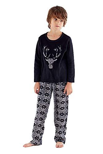 O.N.E pijama de forro polar para niños, cuello redondo, cara de ciervo, ropa de salón Heritage PJs 5 – 13 Negro Negro ( 13 años