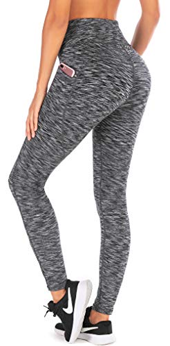 Ewedoos Yoga Pants for Women with Pockets High Waisted Leggings for Women Workout Leggings with Pockets Womens Leggings (Space Dye Darkgray, Small)