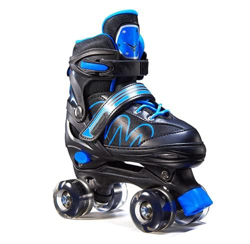 Rollschuhe für Kinder und Erwachsene Einstellbar InlineskatesVerstellbare Atmungsaktive Skates Inlineskates Mit PU Glühräder(Kostenlose Schutzausrüstung ) (Blau, L(37-41))