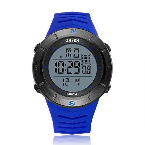 LYDBM Schwarz Digital-Männer Armbanduhr Stoppuhr OHSEN Sport Tauchen Militar Uhr Junge Uhren Outdoor-Shock LED-Mode-Uhr montre Homme (Farbe : Blue Watch)