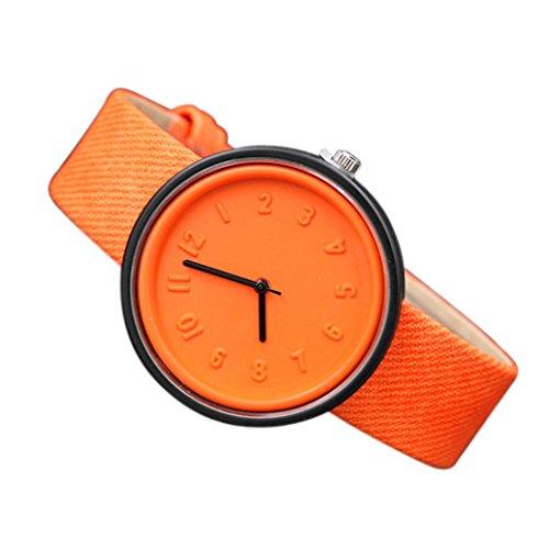 Coolster Unisex Einfache Zahl Uhren Bequeme Segeltuch-Gürtel Armbanduhr Armband (Orange)