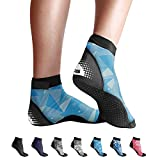 BPS 'Second Skin' Water Socks - Sand Socks for Beach Volleyball, Surfing, Dive Boots, Canoeing, Snorkeling, Beach Soccer, Sand Volleyball, Swim Fins - Low Cut Socks (Blue Polygon Pattern, XS)