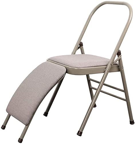 Silla plegable de jardín, silla de yoga LY Pilates, silla plegable de yoga auxiliar Iyengar profesional con soporte lumbar de 31 mm de ancho, banco de apoyo para la cabeza de cuerpo equilibrado, silla