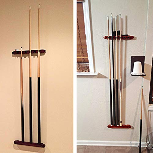 IGNPION A Set Pool Cue Rack Wall Mount Stick Rack Wooden Billiard Cue Holder Stand with 6 Cue Clips for Billiards Snooker Accessory,Mahogany