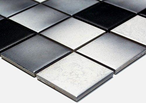 Mosaik Quadrat mix grau rutschhemmend R10C Keramik rutschsicher trittsicher anti slip rutschfest Duschtasse Boden Küche Bad WC, Mosaikstein Format: 48x48x6 mm, Bogengröße: 306x306 mm, 1 Bogen/Matte