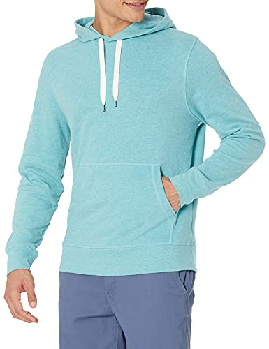 Amazon Essentials Men's Lightweight French Terry Hooded Sweatshirt, Teal, Large