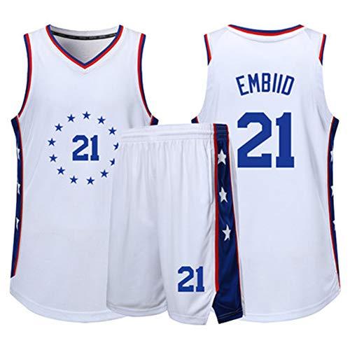 Joel Embid # 21Philadelphia 76ers - Camiseta de baloncesto para hombre, sin mangas, bordado, 2 tallas S-5XL, letras y números cosidos, el mejor regalo para la familia, Neutral, Niños, color Edición de Navidad, tamaño XS