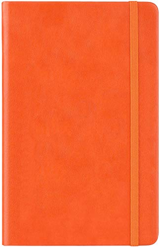 Dotted Grid Notebook/Journal - Dot Grid Hard Cover Notebook, 5 X 8.25 inches,128 pages/64 Sheets,Orange Smooth Faux Leather, Sturdy Weight Paper with Fine Inner Pocket