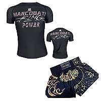 プリントTシャツメンズスポーツウェアプリントTシャツ夏MMAフィットネスTシャツセットUFCファンの贈り物 black-XL