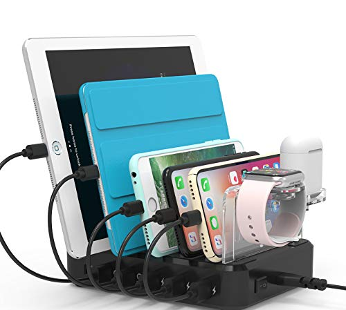 100W Fastest Charging Station Organizer for Multiple Devices with 45W Power Delivery and Quick Charge 3.0 Ports, 6 Ports USB Charging Dock Station or Smartphone, Tablet, USB-C Laptop, Kindle - Black