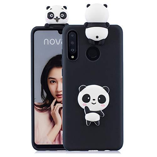 Capa para Huawei P30 Lite, capa de silicone com desenho fofo para Huawei P30 Lite Pop Push Fashion Cases - Panda Preto