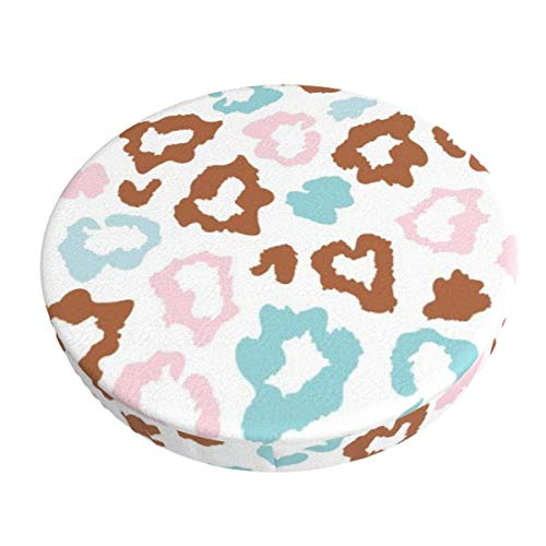 Round Bar Stools Cover,Leopard Skin Fur Print Bunt,Stretch Chair Seat Bar Stool Cover Seat Cushion Slipcovers Chair Cushion Cover Round Lift Chair Stool