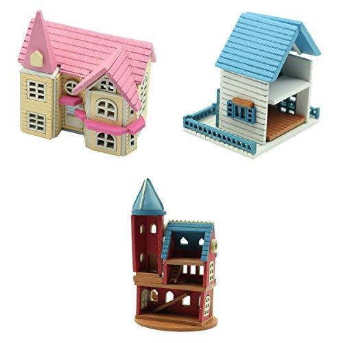 #N/A 3Pcs 1:12 Casa de Muñecas con Muebles Mobiliario Casita Muñeca Jueguetes Madera Color Rosa