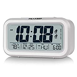 Peakeep Digital Alarm Clock with Dual Alarms for Workday Mode, Indoor Temperature, Smart Night Light, Battery Operated Only (White)