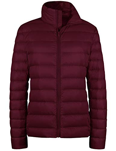 Wantdo Women's Packable Ultra Light Weight Short Down Jacket Wine Red XXX-Large