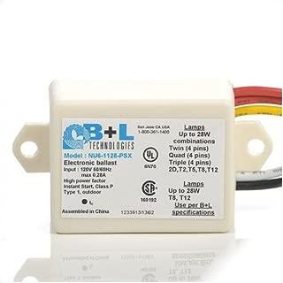B+L Technologies NU6-1128-PSX (1) Upto 28 Watt Twin (4 Pins) Quad (4 Pins) Triple (4 Pins) 2D T5 T8 T12 Lamp Miniature Side Wire Feed Electronic Compact Fluorescent Ballast 120 Volt