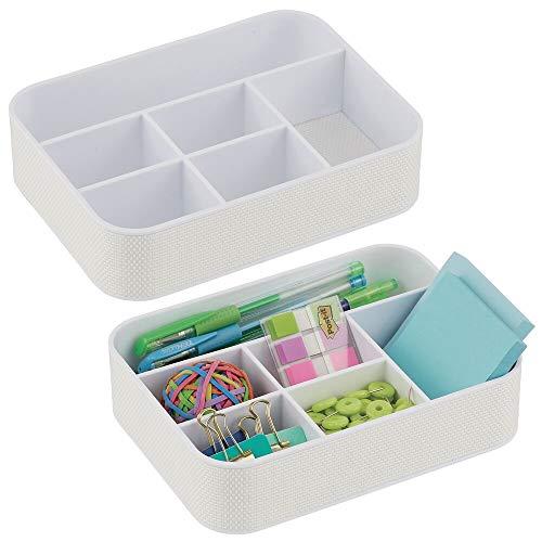 mDesign Juego de 2 cajas clasificadoras de plástico para oficina – Práctica bandeja organizadora para material de oficina y papelería – Organizador de escritorio con 6 compartimentos – blanco
